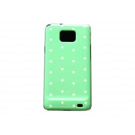 Coque rigide brillante pour Samsung I9100 Galaxy S2 verte à pois blancs + film protection ecran offert