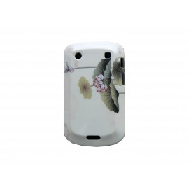Coque rigide brillante beige motif fleur pour Blackberry 9900/9930 Bold Touch + film protection ecran offert