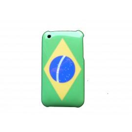 Coque rigide drapeau Brésil pour Iphone 3  + film protection écran offert