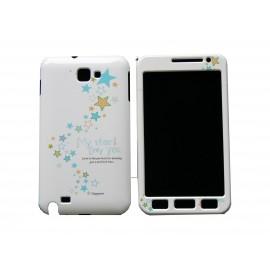 Coque intégrale pour Samsung Galaxy Note I9220/N7000 étoiles bleues+ film protection écran offert