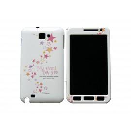 Coque intégrale blanche pour Samsung Galaxy Note I9220/N7000 étoiles roses+ film protection écran offert