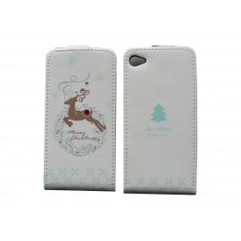 Pochette pour Iphone 4 en simili-cuir blanche cerf + film protection écran