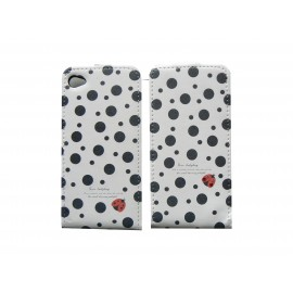 Pochette pour Iphone 4 en simili-cuir blanche à pois noirs  + film protection écran