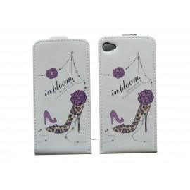 Pochette pour Iphone 4 en simili-cuir chaussure violette et strass + film protection écran