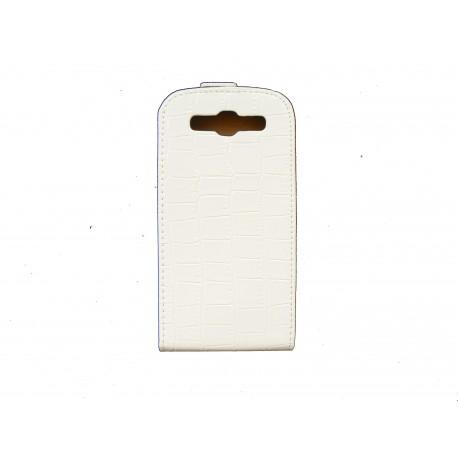 Pochette pour Samsung I9300 Galaxy S blanche simili-cuir crocodile + film protectin écran