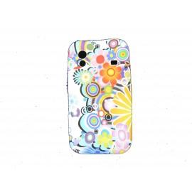Coque pour Samsung S5830 Galaxy Ace silicone fleurs multicolores + film protection écran offert