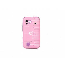 Coque pour Samsung S5830 Galaxy Ace silicone rose cercles + film protection écran offert