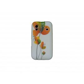 Coque pour Samsung S5830 Galaxy Ace silicone blanche fleurs oranges + film protection écran offert