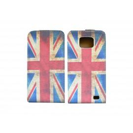 Pochette pour Samsung I9100 Galaxy S2 drapeau UK/Angleterre vintage+ film protection écran