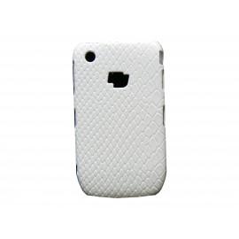 Coque pour Blackberry 8520 Curve simili-cuir blanche peau de serpent + film protection écran offert