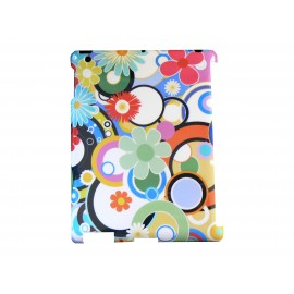 Coque Etui fleur multicolor pour Ipad 2 + film protection ecran offert