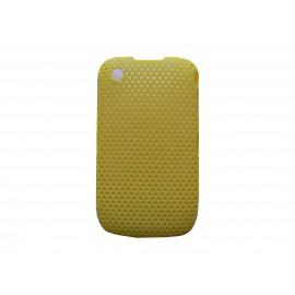 Coque ultra-fine jaune pour Blackberry 8520 Curve microperforée + film protection écran offert