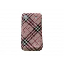 Coque pour Samsung I9000 mate à carreaux roses + film protection écran offert