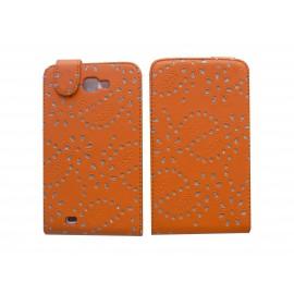 Pochette Etui simili-cuir orange pour Samsung Galaxy Note/I9220 fleurs avec strass + film protectin écran