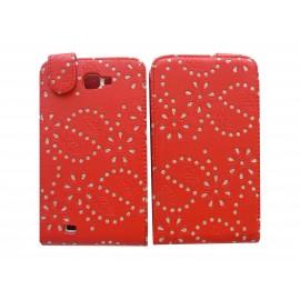 Pochette Etui simili-cuir rouge pour Samsung Galaxy Note/I9220 fleurs avec strass + film protectin écran