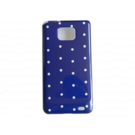 Coque rigide brillante pour Samsung I9100 Galaxy S2 violette à pois blancs + film protection ecran offert