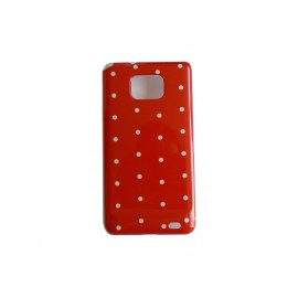 Coque rigide brillante pour Samsung I9100 Galaxy S2 rouge à pois blancs + film protection ecran offert