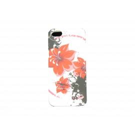 Coque pour Iphone 5 silicone blanche fleurs rouges + film protection écran offert