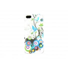 Coque pour Iphone 5 silicone blanche cercles et fleurs multicolores + film protection écran offert