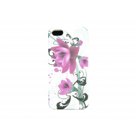 Coque pour Iphone 5 silicone blanche fleurs roses + film protection écran offert