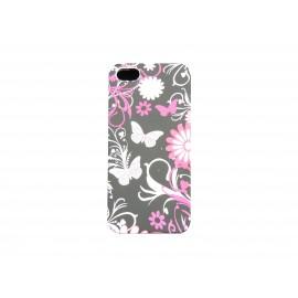 Coque pour Iphone 5 silicone noire papillons fleurs roses + film protection écran offert