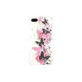 Coque pour Iphone 5 silicone blanche papillons noirs et roses + film protection écran offert