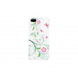 Coque pour Iphone 5 silicone blanche feuilles vertes fleurs roses + film protection écran offert