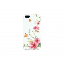 Coque pour Iphone 5 silicone blanche fleurs roses papillons oranges+ film protection écran offert