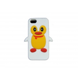 Coque pour Iphone 5 silicone pingouin blanc + film protection écran offert