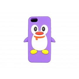 Coque pour Iphone 5 silicone pingouin violet + film protection écran offert