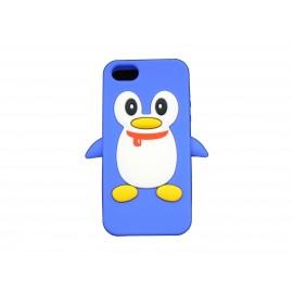 Coque pour Iphone 5 silicone pingouin bleu + film protection écran offert
