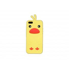 Coque pour Iphone 5 silicone poussin jaune + film protection écran offert