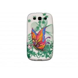 Coque pour Samsung I9300 Galaxy S3 silicone blanche papillon multicolore + film protection écran offert