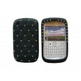 Coque pour Blackberry 8520 curve silicone noire strass diamants + film protection écran offert