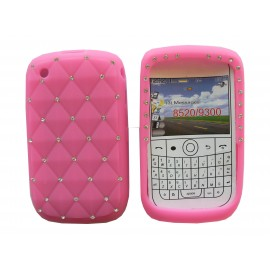 Coque pour Blackberry 8520 curve silicone rose strass diamants + film protection écran offert
