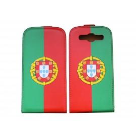 Pochette pour Samsung I9300 Galaxy S3 simili-cuir drapeau Portugal + film protectin écran
