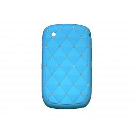 Coque pour Blackberry 8520 curve silicone bleue strass diamants + film protection écran offert