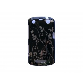 Coque Blackberry Curve 9350/9360/9370 noire fleurs argents + film protection écran offert