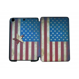 Pochette Ipad Mini drapeau USA/Etats-Unis vintage + film protection écran offert