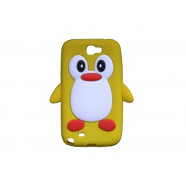 Coque pour Samsung Galaxy Note 2 - N7100  silicone pingouin jaune + film protection écran offert
