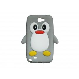Coque pour Samsung Galaxy Note 2 - N7100  silicone pingouin gris + film protection écran offert