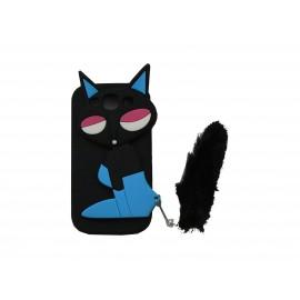Coque Samsung I9300 Galaxy S3 silicone renard noir + film protection écran offert