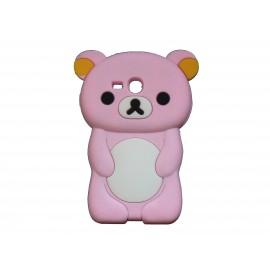 Coque silicone pour Samsung Galaxy S3 Mini/ I8190 ourson rose + film protection écran offert