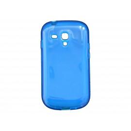 Coque pour Samsung Galaxy S3 Mini/ I8190 en silicone tranparente bleue + film protection écran offert