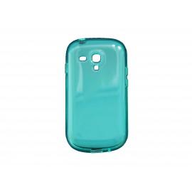 Coque pour Samsung Galaxy S3 Mini/ I8190 en silicone tranparente bleue/verte + film protection écran offert