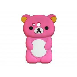 Coque silicone pour Samsung Galaxy S3 Mini/ I8190 ourson rose bonbon + film protection écran offert