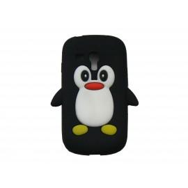 Coque silicone pour Samsung Galaxy S3 Mini/ I8190 pingouin noir + film protection écran offert