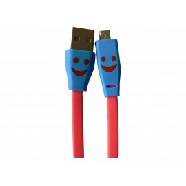 Cable plat micro USB smile fuschia chargement synchronisation