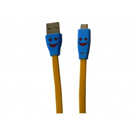 Cable plat micro USB smile jaune chargement synchronisation