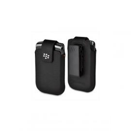 Etui ceinture en cuir noir Blackberry Torch 9800 + film protection écran